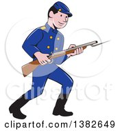 Clipart Of A Cartoon American Civil War Union Army Soldier With A Bayonet Rifle Royalty Free Vector Illustration by patrimonio
