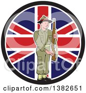 Cartoon British World War II Soldier Holding A Rifle Over A Union Jack Flag Circle