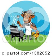 Clipart Of A Cartoon Cow Chef Grilling In A Yard With A Chicken Royalty Free Vector Illustration
