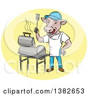 Clipart Of A Bbq Cow Chef Holding Up A Spatula By A Grill Royalty Free Vector Illustration