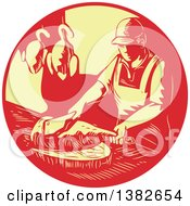 Clipart Of A Retro Styled Male Asian Chef Or Butcher Chopping Meat In A Red And Yellow Circle Royalty Free Vector Illustration