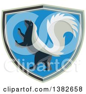 Clipart Of A Retro Rampant Skunk In A Shield Royalty Free Vector Illustration