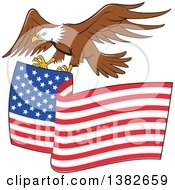 Clipart Of A Cartoon Flying Bald Eagle Ready To Grasp An American Flag Royalty Free Vector Illustration