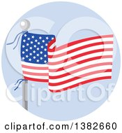 Clipart Of A Flag Pole With A Waving American Banner Over Blue Royalty Free Vector Illustration