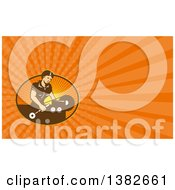 Clipart Of A Retro Woman Operating A Lathe Machine And Orange Rays Background Or Business Card Design Royalty Free Illustration