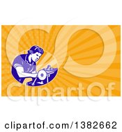 Clipart Of A Retro Seamstress Operating A Machine And Orange Rays Background Or Business Card Design Royalty Free Illustration