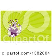 Clipart Of A Retro Jester Juggling Balls And Green Rays Background Or Business Card Design Royalty Free Illustration