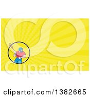 Clipart Of A Cartoon White Male Lacrosse Player With A Stick And Yellow Rays Background Or Business Card Design Royalty Free Illustration