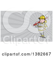 Clipart Of A Cartoon Fireman With An Axe And Gray Rays Background Or Business Card Design Royalty Free Illustration