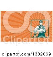 Clipart Of A Retro Male Photographer With A Dslr Camera And Orange Rays Background Or Business Card Design Royalty Free Illustration by patrimonio