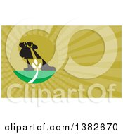 Clipart Of A Silhouetted Landscaper With A Shovel And Plant And Green Rays Background Or Business Card Design Royalty Free Illustration by patrimonio