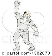 Clipart Of A Cartoon Waving Male Astronaut In A Space Suit Royalty Free Vector Illustration by patrimonio