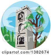 Clipart Of A Retro Styled Medieval Bell Tower And Tree In A Circle Royalty Free Vector Illustration