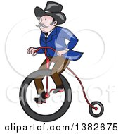 Retro Cartoon Gentleman Riding A Penny Farthing Bicycle
