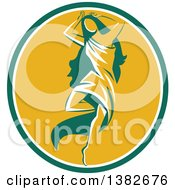 Retro Woman Aphrodite Dancing A Pirouette In A Green White And Yellow Oval