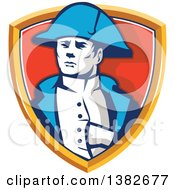 Clipart Of A Retro French General Commander Napoleon Bonaparte In A Shield Royalty Free Vector Illustration