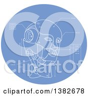 Clipart Of A Technical Drawing Blue Print Of An Android Head In A Blue Oval Royalty Free Vector Illustration