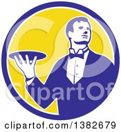 Clipart Of A Retro Male Butler Holding A Plate Inside A Blue White And Yellow Circle Royalty Free Vector Illustration