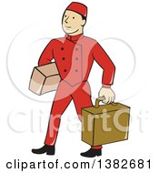 Clipart Of A Cartoon Male Bellhop Porter In A Red Uniform Carrying Luggage Royalty Free Vector Illustration
