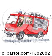 Clipart Of Watercolor Men In A Fast Fire Truck Royalty Free Vector Illustration by patrimonio