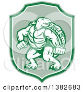 Clipart Of A Retro Tough Turtle In A Fighting Stance Inside A Green And White Shield Royalty Free Vector Illustration by patrimonio
