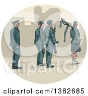 Clipart Of A Watercolor Styled Group Of Soldiers And A Bagpiper Wearing A Kilt Royalty Free Vector Illustration