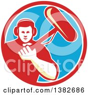 Clipart Of A Retro White Male Film Crew Sound Man In A Red White And Blue Circle Royalty Free Vector Illustration