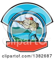 Clipart Of A Retro Sea Trout Fish Man Hunter Holding A Shotgun Over A Lake Scene Royalty Free Vector Illustration