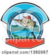 Retro Sea Trout Fish Man Hunter Holding A Shotgun Over A Lake Scene