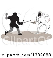 Clipart Of Swordsmen Fencers In Action Royalty Free Vector Illustration by patrimonio