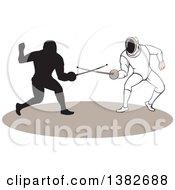 Swordsmen Fencers In Action