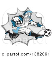 Clipart Of A Retro Centurion Roman Soldier Soccer Player Kicking Over A Gray Burst Royalty Free Vector Illustration