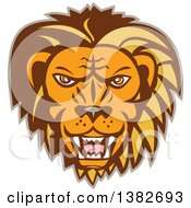 Clipart Of A Retro Angry Roaring Male Lion Face Royalty Free Vector Illustration