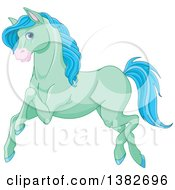 Clipart Of A Cute Green And Blue Horse Running Royalty Free Vector Illustration