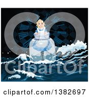 Alice In Wonderland Floating In A Bottle Against A Clock