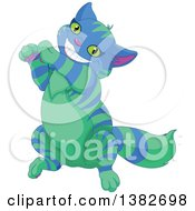 Grinning Striped Blue And Green Cheshire Cat Dancing