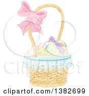 Clipart Of A Basket Of Easter Eggs With A Bow On The Handle Royalty Free Vector Illustration by Pushkin