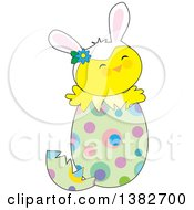 Clipart Of A Cute Chick Wearing Bunny Ears And Popping Out Of An Easter Egg Royalty Free Vector Illustration