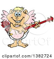 Clipart Of A Happy Valentines Day Cupid Playing A Banjo Royalty Free Vector Illustration by Dennis Holmes Designs