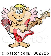 Clipart Of A Happy Valentines Day Cupid Playing An Electric Guitar Royalty Free Vector Illustration by Dennis Holmes Designs