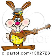 Happy Brown Easter Bunny Rabbit Playing A Banjo