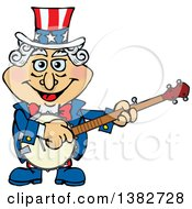 Uncle Sam Character Playing A Banjo