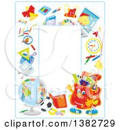 Vertical School Border Frame With Educational Items