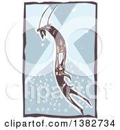 Clipart Of A Woodcut Woman And Man Swinging On A Circus Trapeze Over A Circus Crowd And Spot Lights Royalty Free Vector Illustration