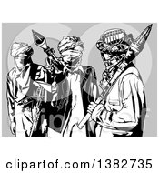 Clipart Of A Black And White Terrorist Group Over Gray Royalty Free Vector Illustration by dero