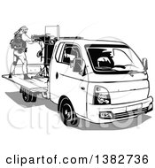 Clipart Of Black And White Terrorists Operating An Armed Vehicle Royalty Free Vector Illustration by dero