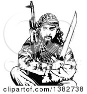 Clipart Of A Black And White Terrorist Sitting With Weapons Royalty Free Vector Illustration by dero