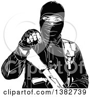 Clipart Of A Black And White Terrorist Gesturing With His Hand Royalty Free Vector Illustration by dero