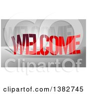 Clipart Of Gradient Red WELCOME Text Over Gray Royalty Free Illustration by MacX