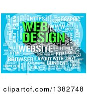 Clipart Of A Green And White Web Design Word Tag Collage On Blue Royalty Free Illustration